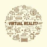 Линия установленные значки виртуальной реальности минимальная тонкая Стоковое Изображение RF