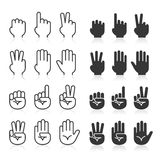 Линия установленные значки жестов рукой иллюстрация штока