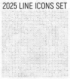 Линия установленные значки исключения 2025 тонкая бесплатная иллюстрация
