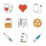 Линия установленные значки медицинских и здравоохранения иллюстрация вектора