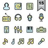Линия установленные значки музыки Стоковое Изображение RF