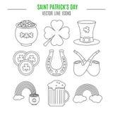 Линия установленные значки дня Patricks Святого Стоковая Фотография RF