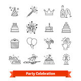 Линия установленные значки партии тонкая искусства зрелищность бесплатная иллюстрация