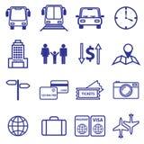 Линия установленные значки перемещения и каникул вектор Стоковая Фотография