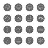 Линия установленные значки погоды тонкая Стоковая Фотография RF