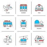 Линия установленные значки транспорта иллюстрация штока
