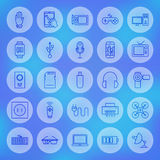 Линия установленные значки устройств и приборов сети круга Стоковые Фотографии RF