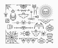 Линия установленные значки хеллоуина Стоковое Изображение