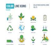 Линия установленные значки цвета тонкая Экологичность, зеленая энергия Стоковое Изображение RF