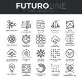 Линия установленные значки Futuro науки данных Стоковые Фотографии RF