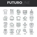Линия установленные значки Futuro утварей кухни иллюстрация вектора