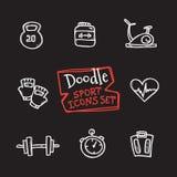 Линия установленные спорт стиля doodle вектора значков Милой собрание нарисованное рукой объектов спорта Стоковая Фотография