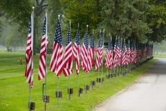 Линия флагов одно сторона дороги Стоковая Фотография