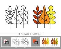 Линия ход лист падения осени значка editable бесплатная иллюстрация