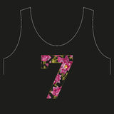 Линия цветочный узор 7 шеи вышивки красочная с d Стоковое Изображение