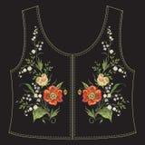 Линия цветочный узор шеи вышивки с маками и лилиями t Стоковое Изображение