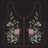 Линия цветочный узор шеи вышивки этническая с розами и маслом Стоковые Фото