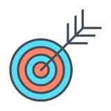 Линия цели значок Успешный всход Концепция знака плана цели вектор Стоковые Изображения