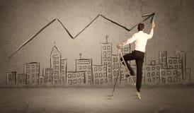 Линия чертежа человека над городом Стоковое Изображение