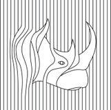 Линия чертеж вектора головы носорога Стоковые Изображения