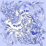 Линия чертеж в голубых тонах с масленицей и мотивами карточки Стоковая Фотография RF