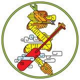 Линия чертеж значка дракона цвета бесплатная иллюстрация