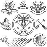 Линия чертеж значка дракона иллюстрация штока