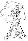 Линия чертеж исполнительницы танца живота Бесплатная Иллюстрация