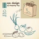 Линия чертеж овощей для печатать на сумке Стоковые Изображения RF