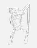 Линия чертеж оригинального дизайна корабля ходока произвела на 3D CAD Стоковое фото RF