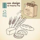 Линия чертеж продуктов хлебопекарни для хозяйственной сумки Стоковое Изображение