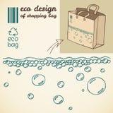 Линия чертеж пузырей воды для хозяйственной сумки Стоковые Изображения