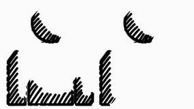 Линия чертеж человека 2 ручек вычисляет анимацию с прозрачной предпосылкой сток-видео
