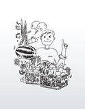 Линия чертеж человека с плодоовощ Стоковая Фотография