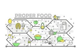 Линия шаблон вектора тонкая знамени плаката еды искусства свойственный иллюстрация штока