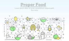 Линия шаблон вектора тонкая знамени плаката еды искусства свойственный бесплатная иллюстрация