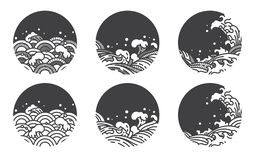 Линия шаблон волны воды логотипа Японский Тайский бесплатная иллюстрация