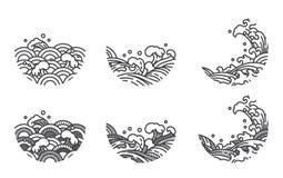 Линия шаблон волны воды логотипа японско тайско иллюстрация вектора
