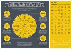 Линия шаблон виртуальной реальности Infographic дизайна Стоковое фото RF