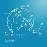 Линия шаблон диаграммы мирового бизнеса стиля. Стоковые Фото