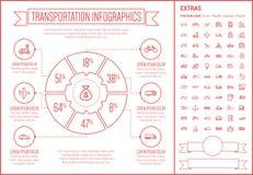 Линия шаблон транспорта Infographic дизайна Стоковое Изображение