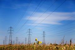 Линия электропередач на голубом небе Стоковые Изображения RF