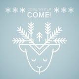 Линия эмблема стиля с стилизованными оленями рождества иллюстрация штока