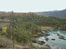 Линия электропередач над лесом и рекой в горах Стоковые Фото