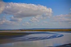 Линия Avranches Франция побережья Le Mont Святого Мишеля Стоковое Фото
