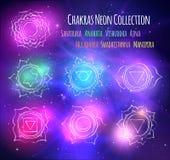 Линия chakras искусства на предпосылке космического пространства иллюстрация вектора