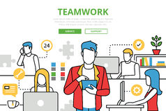 Линия infographics вектора офиса команды концепции сыгранности плоская искусства Стоковая Фотография