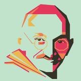 Линия Mahatma Gandhhi простая и простой цвет vector /eps иллюстрация штока