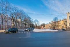 Линия Mendeleev, памятник MV Lomonosov Стоковое Фото