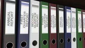 Линия multicolor связывателей офиса с бирками квартала и годовых отчетов иллюстрация штока